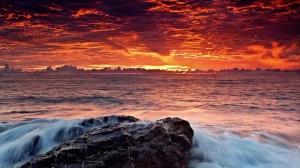 sea water wave sunrise
